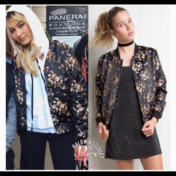 Brandy Melville Jackets & Blazers - Brandy Melville Floral Bomber